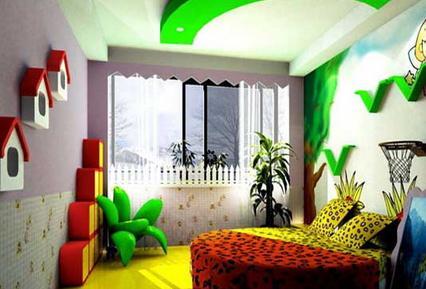 简约风格儿童房:创意森林   深色的木质地板,让孩子光著脚进入了一个