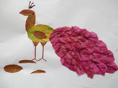 自制树叶粘贴画方法 幼儿树叶粘贴画图片大全