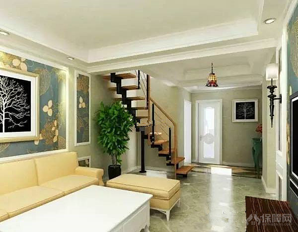 楼中楼小户型的楼上装修,图中可以看到走廊被很好的利用到了,在靠窗户