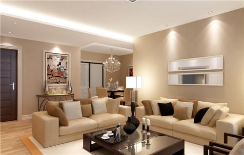 现代简欧客厅效果图 15万清包110平三居室客厅装修