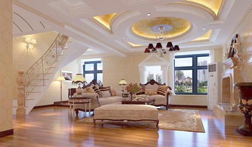 复式楼设计效果图二 这款欧式风格复式楼设计,客厅的设计十分大气