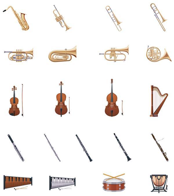 管弦乐器大全 教育资讯  2018年6月23乐器图集上详细标注了乐器的名称