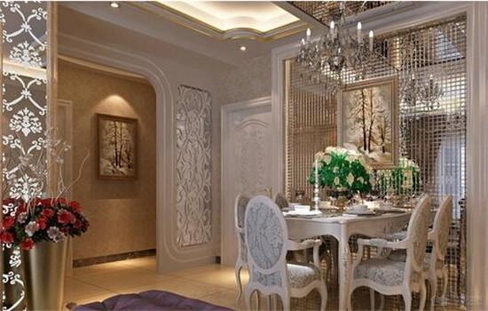 欧式田园餐厅吊顶设计 奢华中带有小清新感